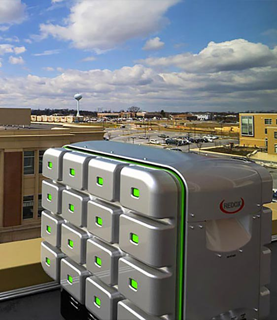 Maryland company Redox Power Systems created the Redox cube: a natural gas-fueled, stationary power system.