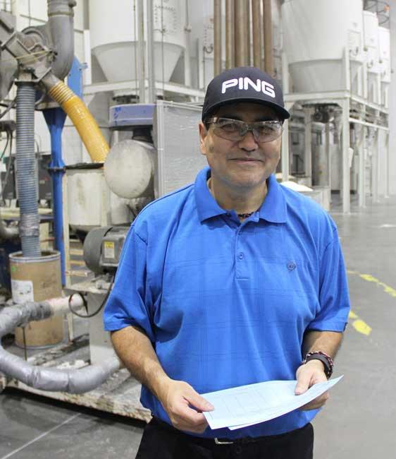 Man at Dunlop manufacturing plant
