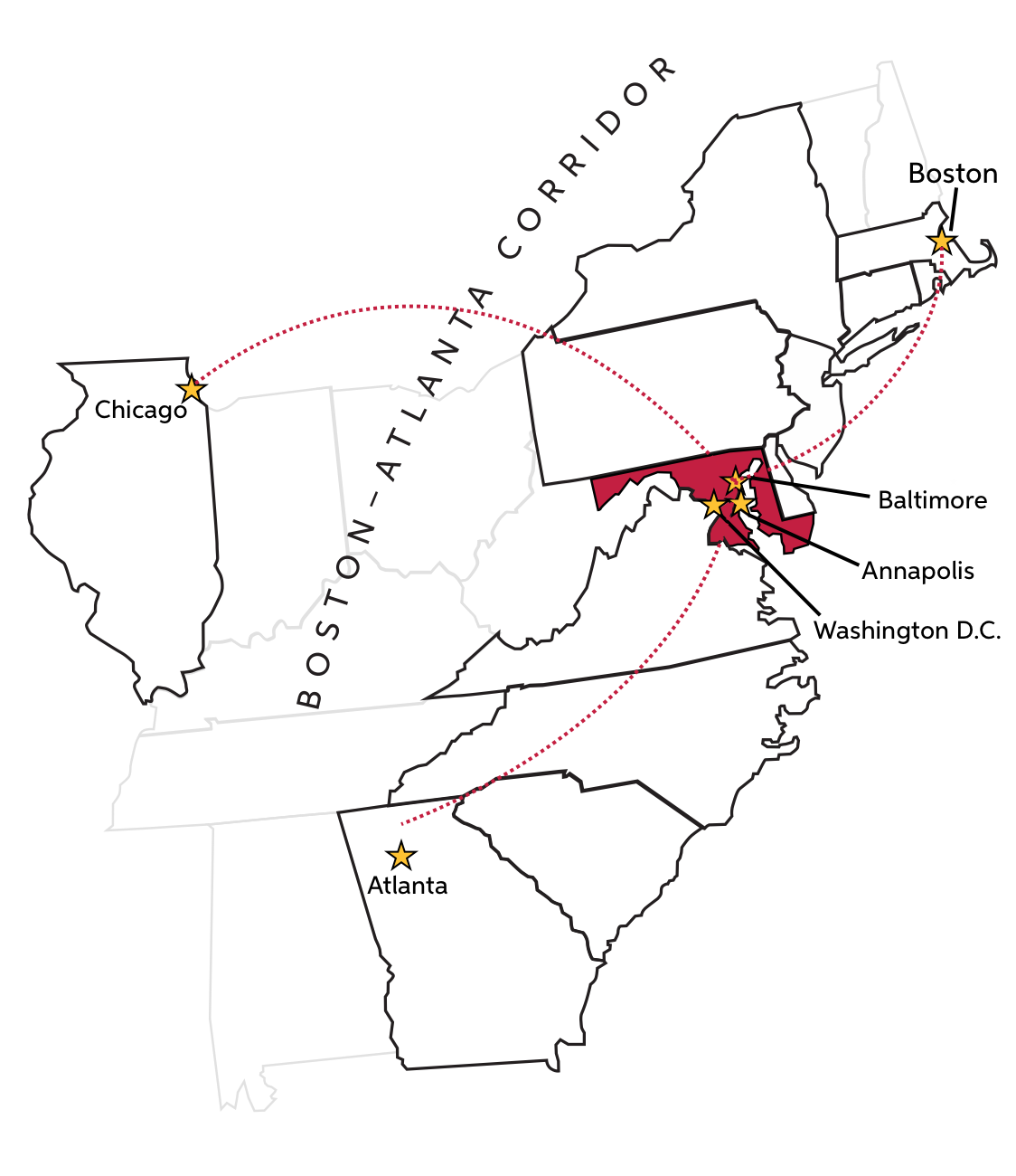 Maryland strategic location access, map of the east coast and mid western US